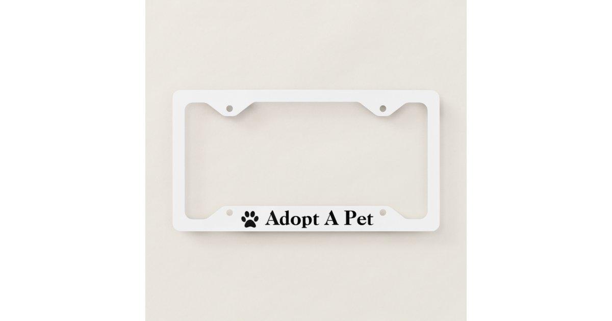 Adopt a Pet Paw Print Custom Rim Color License Plate Frame   Zazzle.com