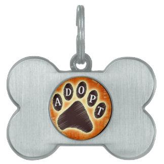 adopt a pet, rescue- paw print,dog cat pet name tag