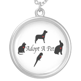 Adopt a Pet Silhouettes Round Pendant Necklace
