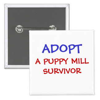 ADOPT, A PUPPY MILL SURVIVOR PINBACK BUTTON
