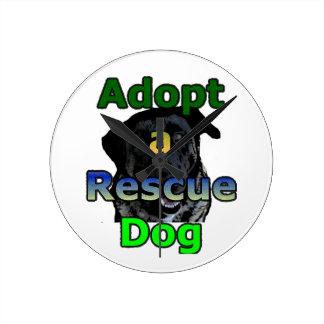 Adopt a Rescue Dog Round Clock