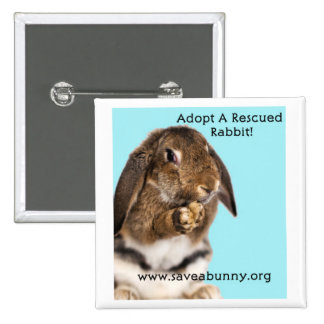Adopt A Rescued Rabbit! Button