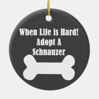 Adopt A Schnauzer Ceramic Ornament