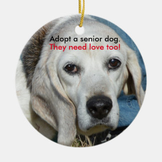 Adopt a senior dog. They need love too! Ceramic Ornament