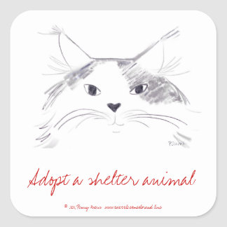 Adopt a shelter animal square sticker
