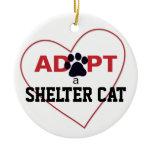 Adopt a Shelter Cat Ceramic Ornament
