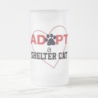 Adopt a Shelter Cat Frosted Glass Beer Mug