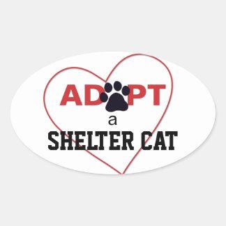 Adopt a Shelter Cat Oval Sticker