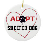 Adopt a Shelter Dog Ceramic Ornament