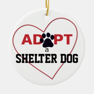 Adopt a Shelter Dog Ceramic Ornament
