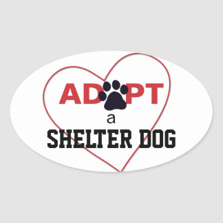 Adopt a Shelter Dog Oval Stickers