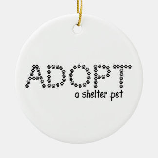 Adopt a Shelter Pet Paws Double-Sided Ceramic Round Christmas Ornament