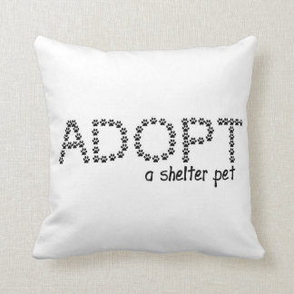 Adopt a Shelter Pet Paws Throw Pillow