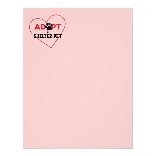 Adopt a Shelter Pet Personalized Letterhead
