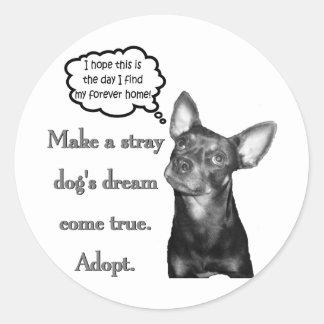 Adopt A Stray Classic Round Sticker