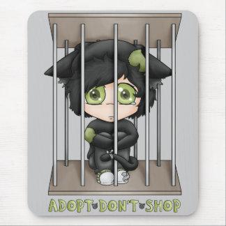 Adopt Don't Shop Sad Black Cat Mouse Pad