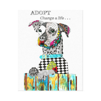 """Adopt Me Doggie on a 16"""" x 20"""", 1.5"""" Canvas"""
