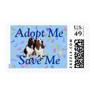 Adopt Me, Save Me (Basset Hound) Postage Stamp