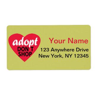 Adopt no hace compras etiquetas de envío