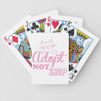 adopt not shop: pink cat bicycle playing cards
