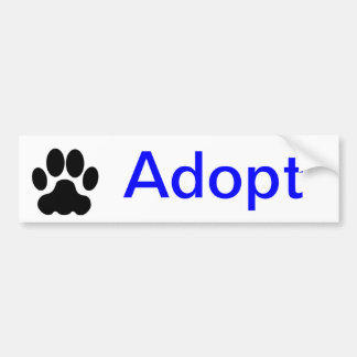 Adopt Paw Print Bumper Sticker Car Bumper Sticker