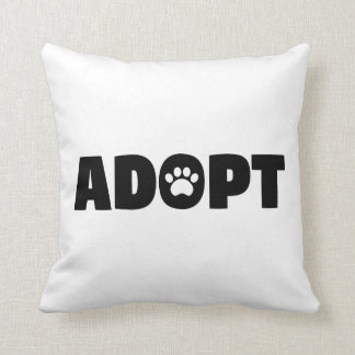 Adopt Paw Print Throw Pillow
