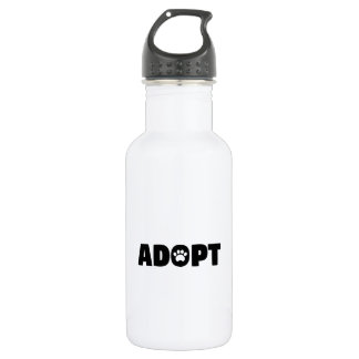 Adopt Paw Print Water Bottle