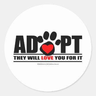 Adopt Pawprint Classic Round Sticker