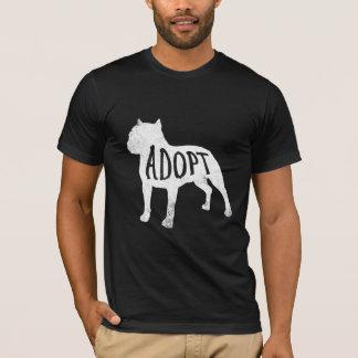 Adopt Pit Bull silhouette shirt (white)