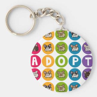 Adopt Rainbow Frenchie Basic Round Button Keychain