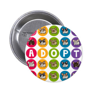 Adopt Rainbow Frenchie Pinback Buttons