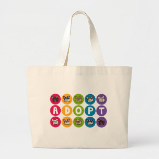 Adopt Rainbow Frenchie Large Tote Bag