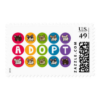 Adopt Rainbow Frenchie Postage Stamps