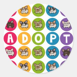 Adopt Rainbow Frenchie Classic Round Sticker