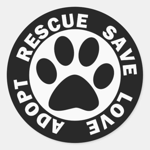 Adopt Rescue Save Love Round Sticker