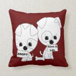 Adopt/Save A Life (B&W) Throw Pillow