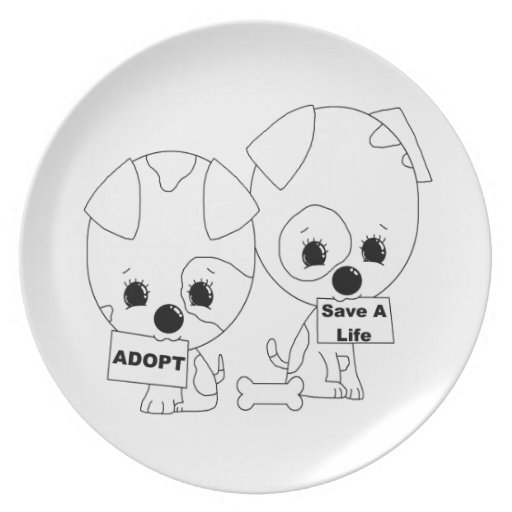 Adopt/Save A Life Pups Dinner Plate