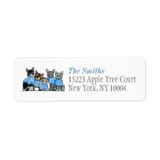 Adopt Shelter Cats Off-Leash Art™ Blue Title Return Address Label