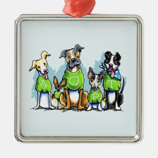Adopt Shelter Dogs Green Tees Think Adoption Square Metal Christmas Ornament