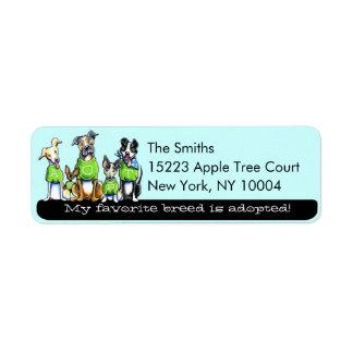 Adopt Shelter Dogs Off-Leash Art™ Black Tagline Return Address Label