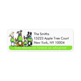 Adopt Shelter Dogs Off-Leash Art™ Green Tagline Return Address Label