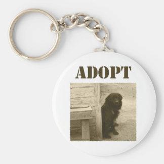 Adopt stray dog basic round button keychain