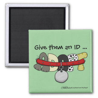 ADOPT with Collar-Give them an ID 2 Inch Square Magnet