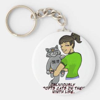 Adopta olvidadizo gatos en su novena vida llavero redondo tipo pin