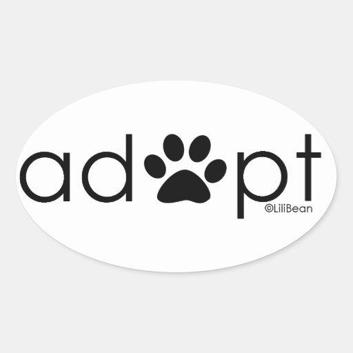 Adopte #2 pegatina ovalada