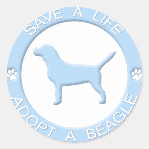 Adopte a los pegatinas de un beagle etiquetas redondas