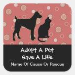 Adopte a los pegatinas de un mascota pegatina cuadradas personalizadas