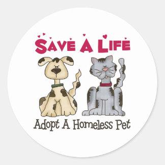 Adopte a los pegatinas sin hogar de un mascota pegatina redonda