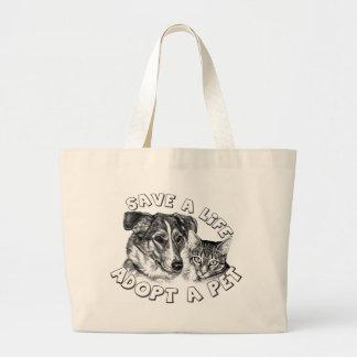 Adopte a un mascota bolsa tela grande