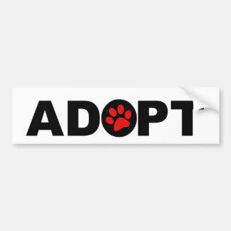 Adopte a un mascota pegatina de parachoque